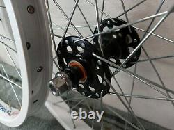 20 Old School Style Bmx Wheel Set White (Haro Mongoose GT Dyno CW Hutch)