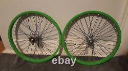 Old School Bmx Gt Hubs Green Araya 7x Rims 36 Hole 20 X 1.75 Acs Vintage Rare