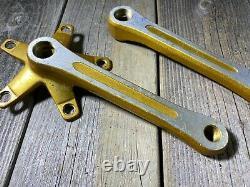 Old School Bmx MX Sr Sakae Crankset 170mm Gold Metal Flake Made In Japan Nos