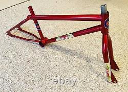 Old School Bmx Original 1983 Gt Pro Santa Ana Frame Fork Candy Red
