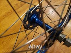 Old school Araya 20x1.75 bmx blue anodized Suzue high flange hubs excellent Ukai