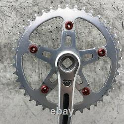 Old school BMX Sugino Maxy Crank Set 3pc 171mm Red Wolf Tooth Bolts