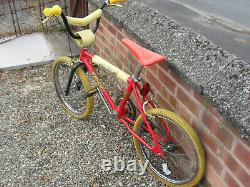 Original Old School 1983 Raleigh Burner Mk1 BMX Unrestored Survivor Red Yellow
