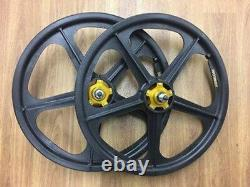 Skyway Graphite Tuff II Gold Alloy Flange Old School BMX Wheels 20 Inch Pair
