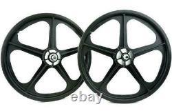 Skyway Tuff II old school BMX mag wheels 20 wheelset freewheel 3/8' axle BLACK