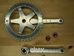 Sugino Mighty Competition Track BMX crankset Old School 42T with pink dustcaps O1
