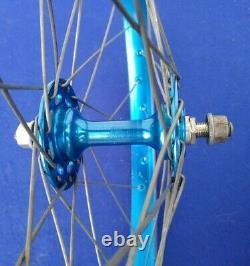 Vintage 80s Sunshine & Sansin Hubs & Araya Rims Blue Wheels Used Old School Bmx