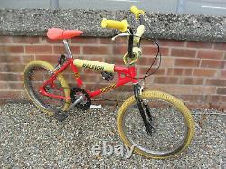 Ancienne École Originale 1983 Raleigh Burner Mk1 Bmx Unrestored Survivor Red Yellow