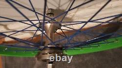 Old School Bmx Gt Hubs Vert Araya 7x Jantes 36 Trou 20 X 1.75 Acs Vintage Rare