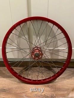 Old School Bmx Red Araya 7x Rim Wheel 20x1.75 Red Suzue Front Hub