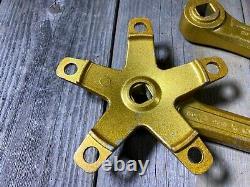 Vieille École Bmx MX Sr Sakae Crankset 170mm Gold Metal Flake Made In Japan Nos
